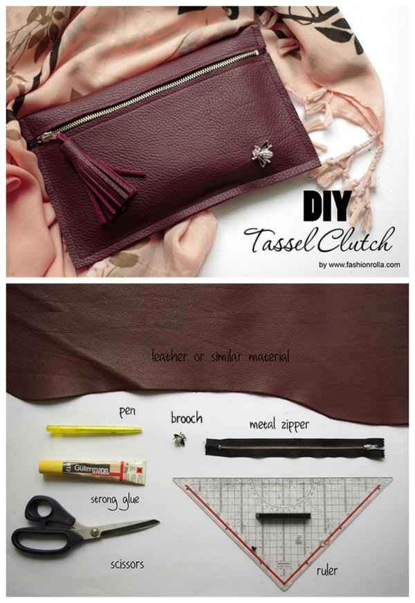 Making this Leather or Vinyl Clutch Bag is as easy as it gets! It's also super cheap if you reuse leather by taking an offfcut fom an old bag or coat. And with all that great news there is even more as the designer has produced a free pattern for this simple and quick project.