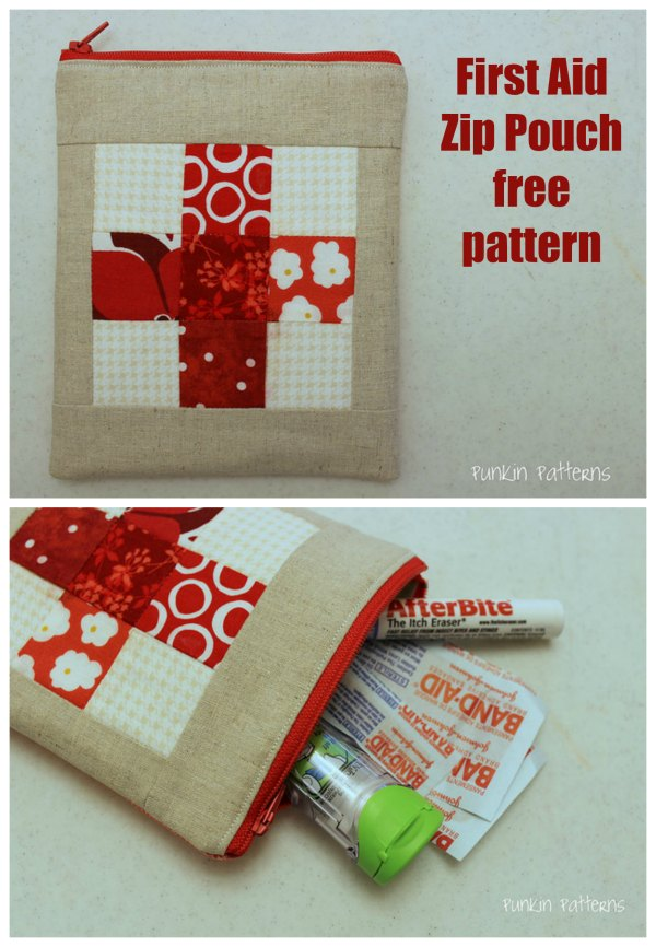 Here's a free pattern and tutorial for a First Aid Zipper Pouch. This handy little zipper pouch holds everything that you will need for first aid and can go everywhere with you.