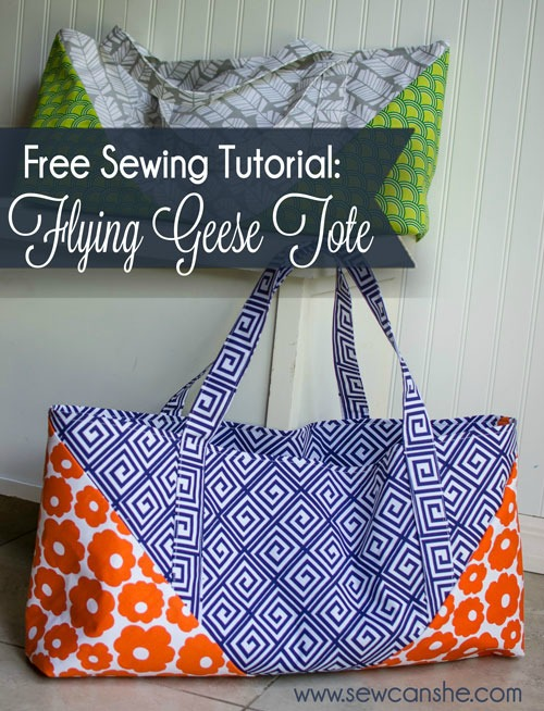 This very talented and generous designer has made a free tutorial for her Flying Geese Tote Bag, which is a tote bag that shows off two prints at the same time. The Flying Geese Tote Bag is a big sturdy tote bag that's perfect for taking to the beach, yoga class, or just to the grocery store. There are pockets on the inside and it has lots of room too.