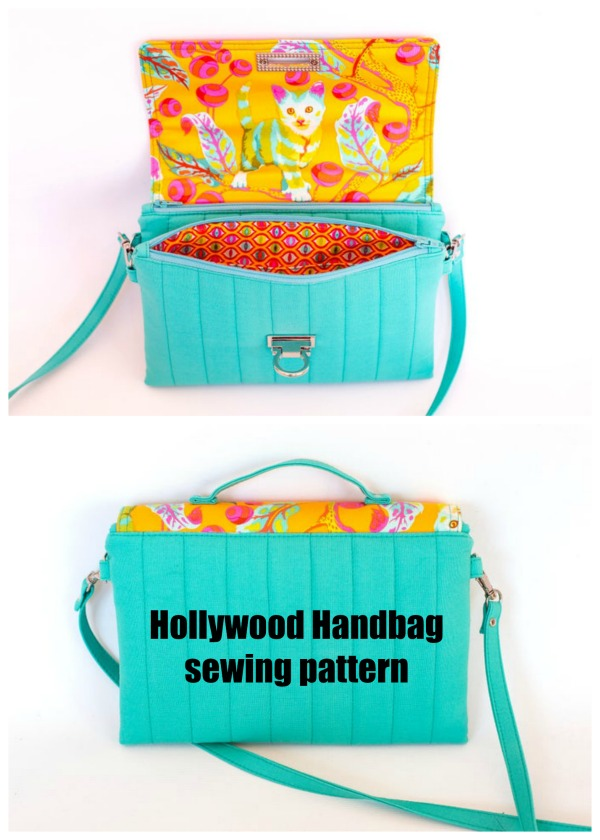 This is the Hollywood Handbag. The amazing pattern designer describes it as a fun and quick sew! The folded in half design is quite unique and sure to turn a few heads. It also gives you two separate zippered compartments under the flap giving perfect added security with the double closure.