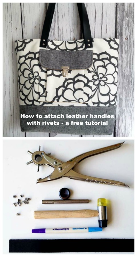 """We've found you an excellent tutorial from a very talented designer and author on """"How to attach leather handles with rivets"""". If you have never added any leather or hardware to one of your projects then this tutorial will be a great way for you to learn techniques for both."""