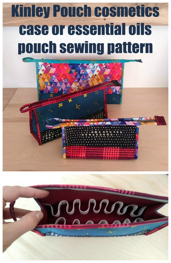 The Kinley Pouch is such a versatile pattern that you will find so many uses for. It comes in three size options within the same pattern, and also has instructions for adding in optional elastic dividers so that you can turn it into an essential oils travel case, PLUS  instructions for iron-on vinyl so that it's a practical wipe-clean cosmetic bag.