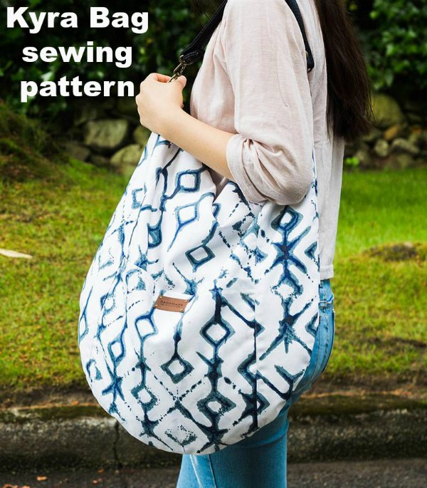 Sewing pattern for the Kyra Bag which is an elegant and stylish hobo bag.