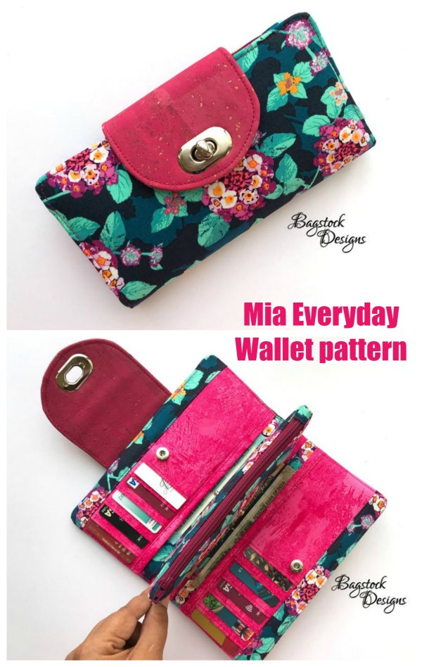 This is one of those pattern wallets that looks just like it was bought in a store. It's very pretty and has a place for everything you want to put in a wallet. The Mia Everyday Wallet is a perfect wallet for everyday use and is also quick and fun to make.