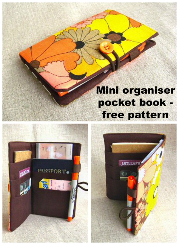 This is a perfect project for a beginner sewer who would like to make themselves a Mini Organizer Pocket Book. This lovely pretty Pocket Book tutorial will help you stay organized, in a quick, easy, and super-cute way. It has six pockets, a loop for a pen, and a very simple but expandable closure.