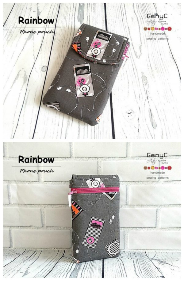 This is a fabulous phone pouch pattern that can be adjusted for any size of phone as the designer has included instructions to do so. The Rainbow Phone Pouch has a back zipper pocket and comes in 4 options.