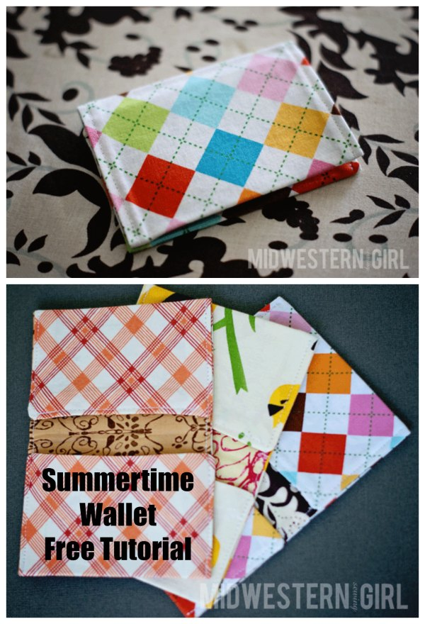 The Summertime Card Wallet is a tiny little wallet that holds just the essentials. It's a great project to use up some of your fabric scraps and the completed wallet can be shoved into your back pocket or beach bag without getting in your way.