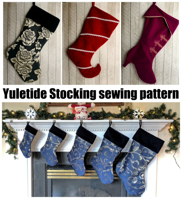 The Yuletide Stocking is a simple and festive stocking design with several cuff and toe shapes.  This stocking is beautiful in any fabric, including velvet, brocade, home decor cotton, or quilting cotton.  Use piping, embroidery, or other embellishments to create custom, beautiful stockings for your whole family.
