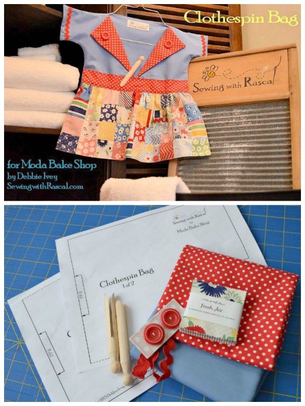 Here's a great sewing pattern for this retro-inspired clothespin bag. It makes a fun and handy way to store your clothespins.