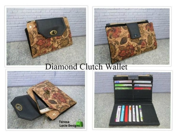 This is the digital sewing pattern for the Diamond Clutch Wallet. It's the perfect grab and go clutch bag wallet with space for a phone, bank cards, coins and paperwork. The designer describes it as everything a lady could ever ask for.