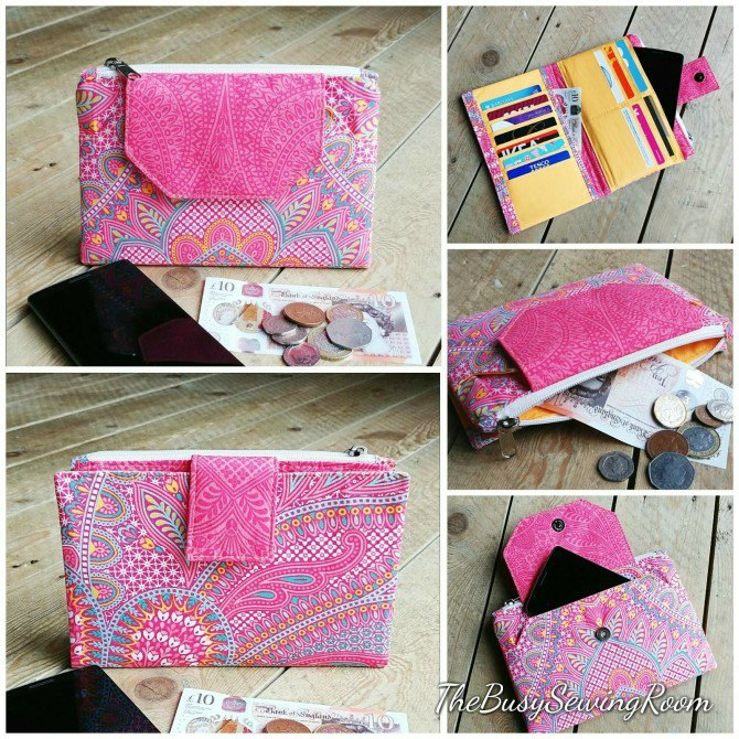 Sewing pattern for the Diamond Clutch Wallet which is the perfect grab and go clutch bag wallet with space for a phone, bank cards, coins and paperwork.