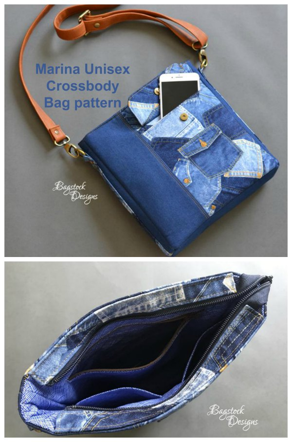 Marina Unisex Crossbody Bag sewing pattern.