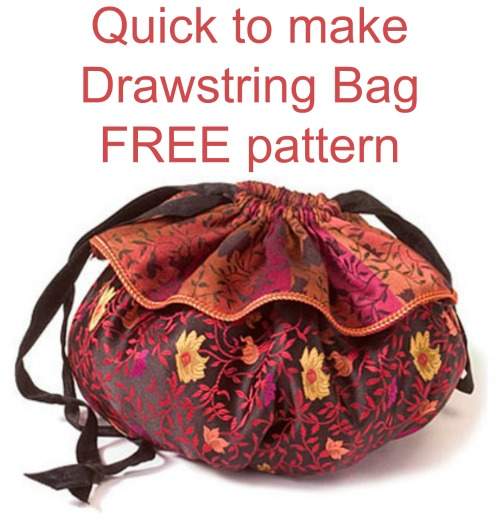 If you would like to make yourself a Drawstring Bag that is quick and simple to make then here's one that comes with a free pattern and instructions. These drawstring bags are a one-of-a-kind handmade bag and they make for a creative and thoughtful gift.