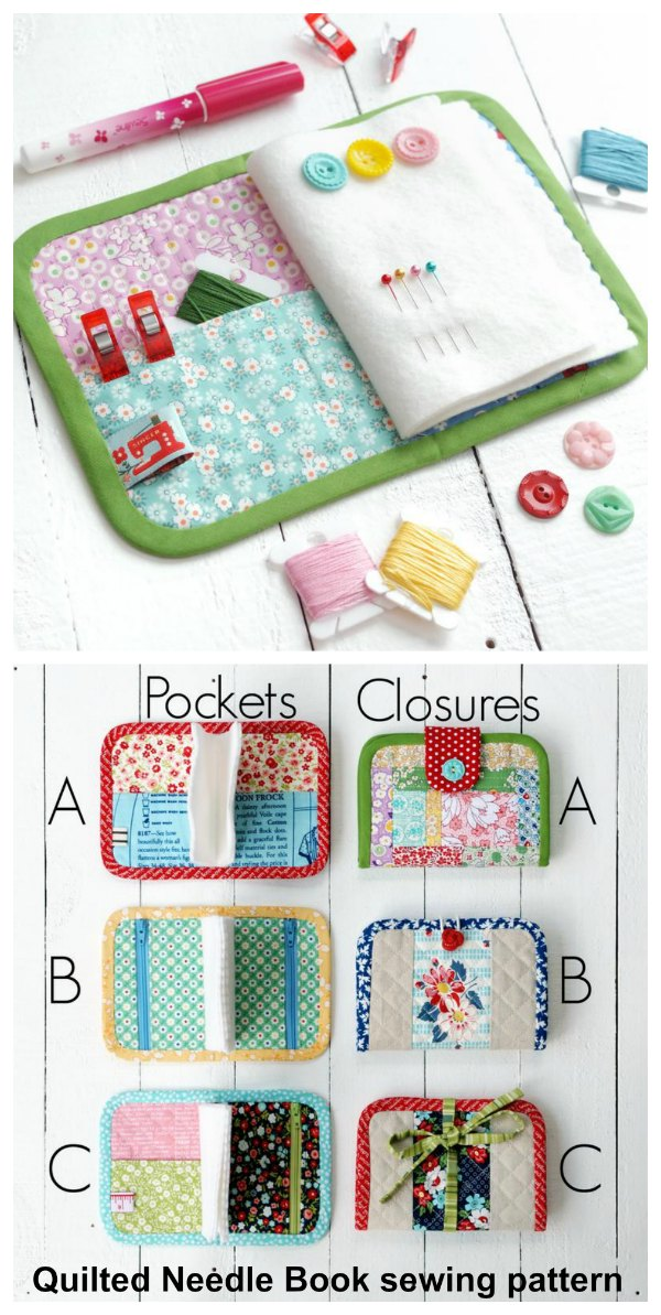 All sewers need a Needle Book and here is a most adorable Quilted Needle Book sewing pattern in two sizes. You'll be able to make a Needle Book that is perfect for keeping your hand sewing needles, and great as a sewing kit when you are on the go.