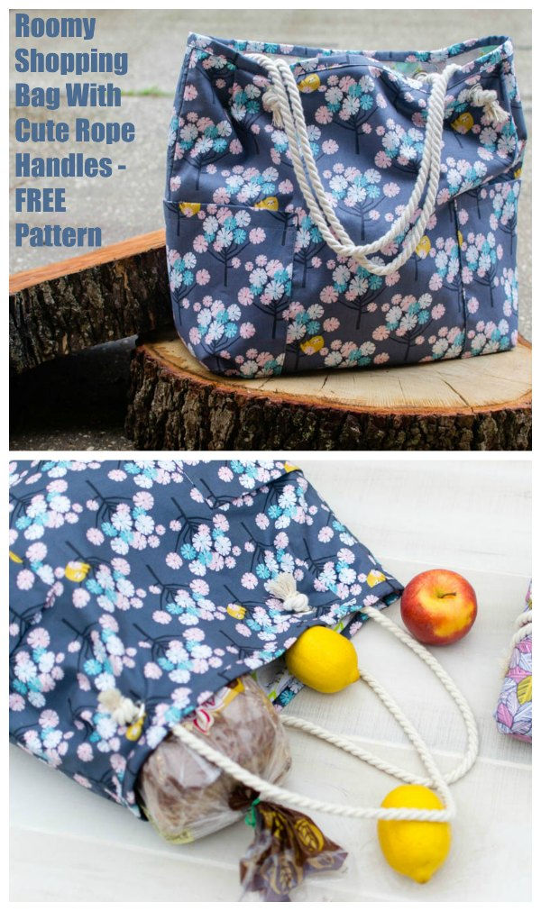 This super popular designer has again produced a free pattern for us all. This time it's for her Roomy Shopping Bag with cute rope handles. To keep things simple, the designer has made the bag design the same inside and out, which means it is reversible too.