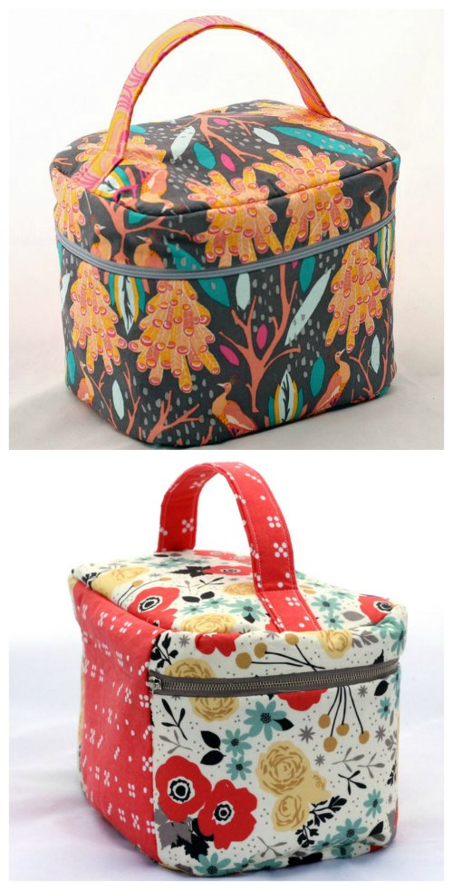 Here's your chance to make this fabulous case to hold all your jewelry and make-up. The designers' modern version of the train case has the classic shape of the original but is much more convenient for the way we travel today. This all fabric case holds its shape with layers of fusible interfacing, interior pockets, and interior binding. However, because it is made with modern fabric it can also be folded to fit inside your luggage or bag for travel.