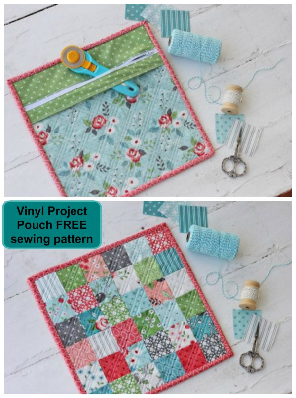 Vinyl project pouch FREE sewing pattern