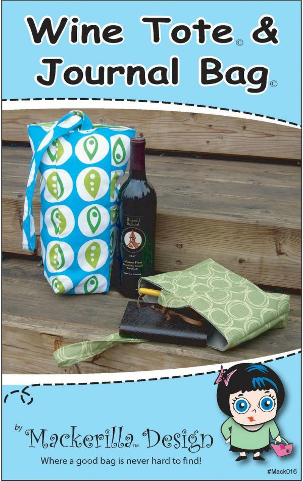 If you like to get two things for the price of one then you'll like this one. You get two easy DIY gift ideas in one pattern. You can quickly make these gifts for the hostess, holiday or special occasions with this Wine Tote and Journal Bag sewing pattern. Each of the bags has a single handle loop-top closure that ensures your bottle or book will stay safely inside.