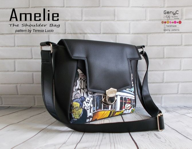 Sewing pattern for the Amelie Shoulder Bag, which is the perfect bag to make for anyone who is just starting out in bag making.