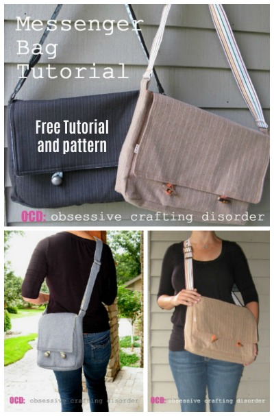 "The free pattern and tutorial for the Bag Lady Messenger Bag comes in two sizes, regular which is perfect for binders, clipboards or laptops and the ""mini-messenger"" which is more purse-sized.  You should allow yourself about 3-4 hours to make each of these wonderful bags."