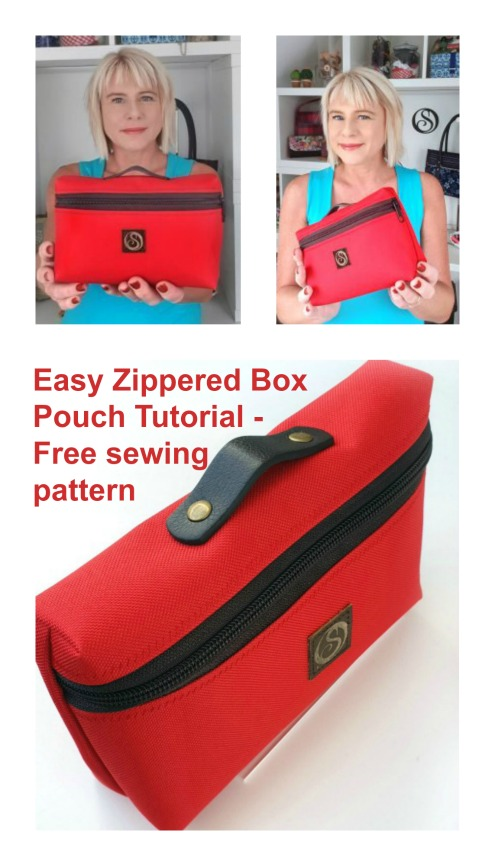 FREE sewing tutorial and pattern for the Easy Zippered Box Pouch.