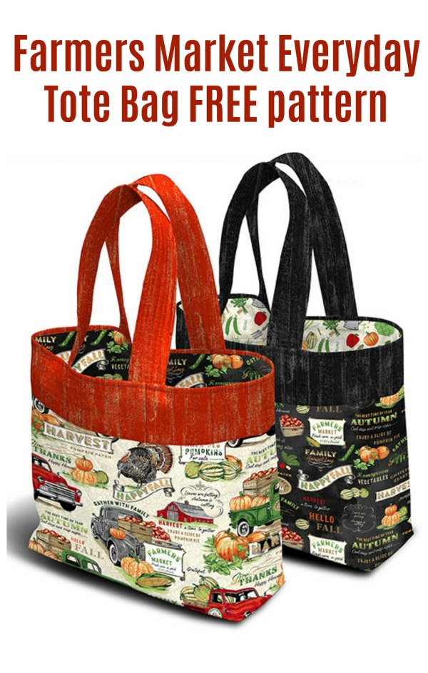 Here's the Farmers Market Everyday Tote Bag where the lovely designer has provided us all with a free pattern and tutorial. You can make yourself one of these great looking and functional bags and then go off to your local farmers market and fill up with lovely nutritional and local produce.