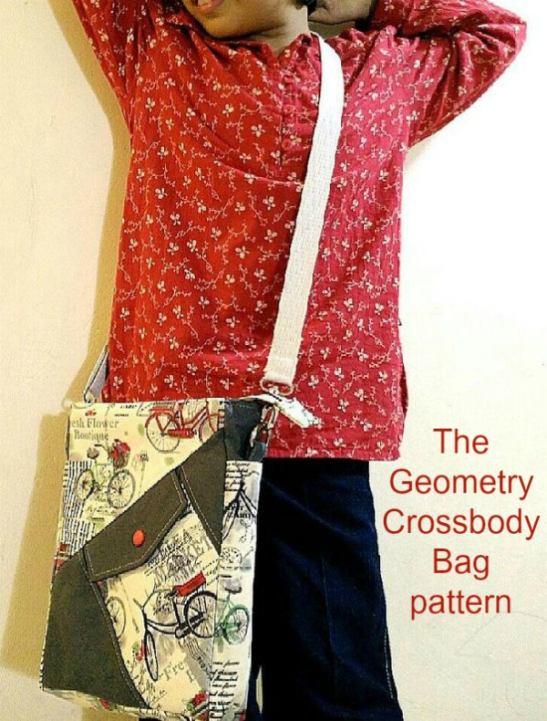 Sewing pattern for the Geometry Crossbody Sling School Bag, a simple, practical and yet highly functional sling school bag