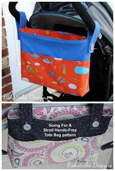 Sewing pattern for the Going For A Stroll Hands-Free Tote Bag.