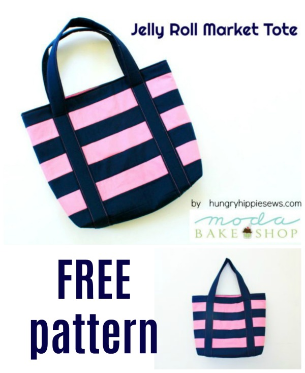 Jelly Roll Market Tote Bag FREE sewing pattern.