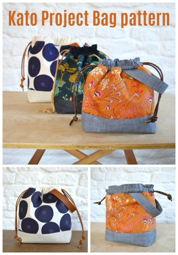 This is the Kato Project Bag where the designer has made the pattern in three different sizes. It's a quick and easy sewing project where you'll end up with cute and stylish project bags. These drawstring bags are perfect for knitting, sewing or embroidery projects when you are on the go