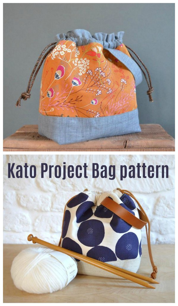 This is the Kato Project Bag where the designer has made the pattern in three different sizes. It's a quick and easy sewing project where you'll end up with cute and stylish project bags. These drawstring bags are perfect for knitting, sewing or embroidery projects when you are on the go.