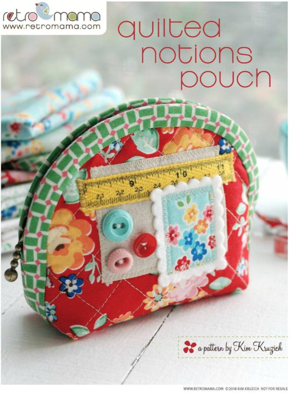 This is a PDF sewing pattern to make two different sized Quilted Notion Pouches. The skilled designer describes them as a cute little zakka style zipper pouch to store sewing notions, accessories, or other small items.