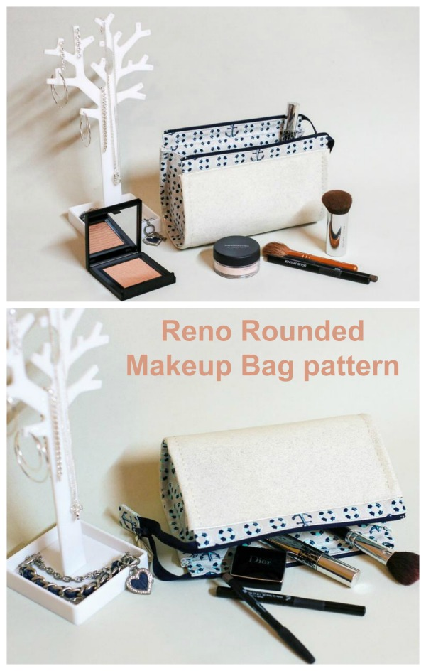 Sewing pattern for the Reno Rounded Makeup Bag, a curved cosmetics bag which has a fantastic shape you will love!