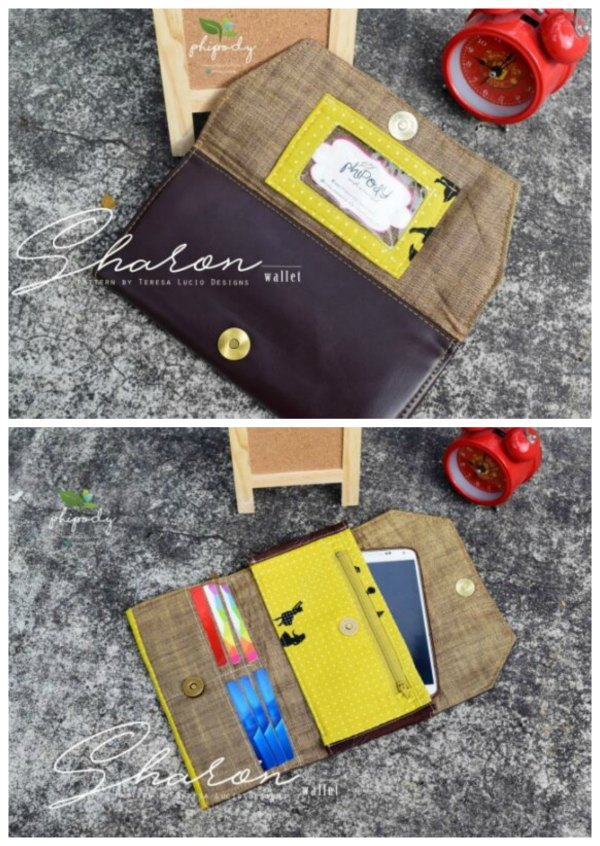 This is a fabulous wallet, that looks great and which you can make in a range of fabrics. The designer has incorporated a room and a place for everything in her Sharon Wallet, including your phone. It's a wallet with a practical and unique style.