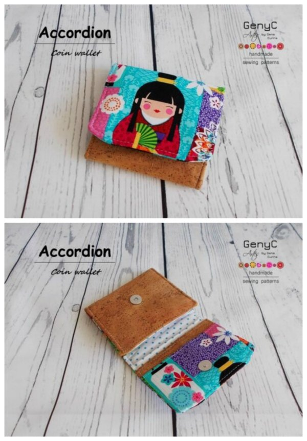This is a lovely digital pattern for a cute little coin purse called the Accordion Coin Wallet. The designer made it as a coin pouch, but if you like you can give it other uses of course. This little wallet has two card slots, a coin pocket and it uses a magnetic snap to close.