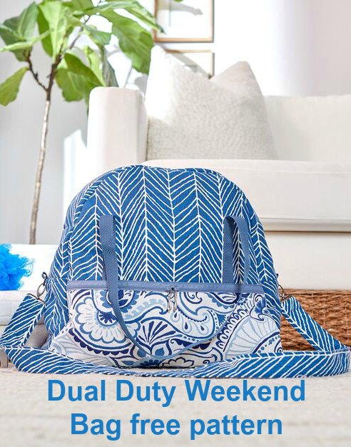 If want to make yourself a bag that the designer made for a weekend get-away then this is the Dual Duty Weekend Bag. This lovely shaped soft-sided bag is just perfect for holding just what you need for that lovely weekend, away from it all.