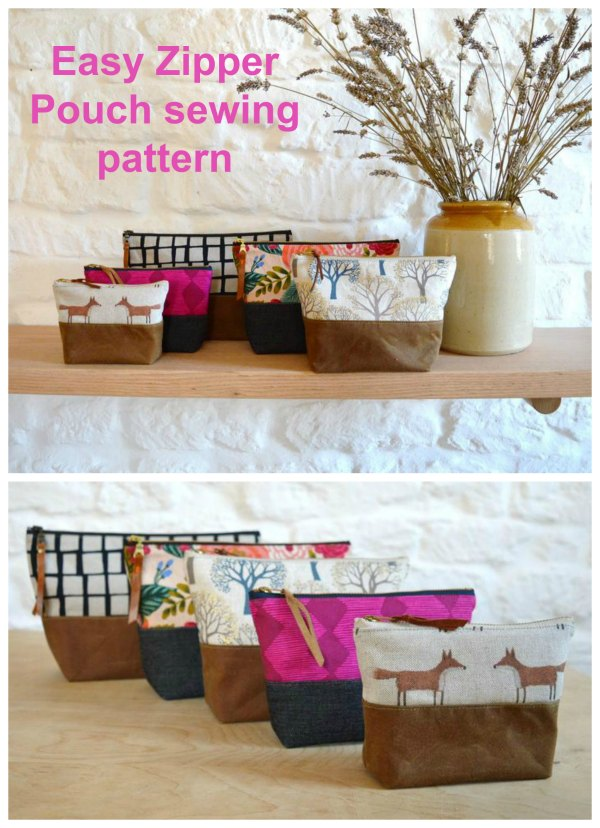 If you need a great way to use up small scraps of your precious fabrics then this will be a great project for you. You can make some Easy Zipper Pouches in five different sizes. These beautifully simple zipper pouches are super-practical and versatile and have a wide range of uses, from a little coin or notions purse to a large project zipper bag.