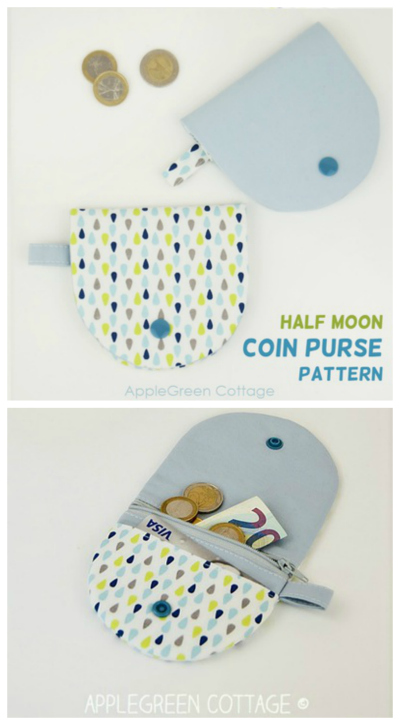 Here is an excellent sewing pattern to make yourself a cute coin purse that keeps your cash safe with both a zipper and a flap with snap closure. There is room for coins, notes and a bank card. This scrap-buster is a fun project to sew when you only have a little of your favorite fabric print left.