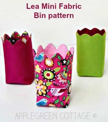 This is the digital sewing pattern for the Lea Mini Fabric Bin. These pretty scalloped fabric baskets are a must sew and as the designer says - every table and desk needs one.