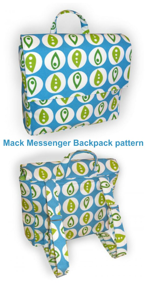 Here is the Mack Messenger Backpack. You can relieve shoulder strain from carrying a heavy bag on one shoulder with this clever idea. You can make your own roomy versatile backpack to carry your books, laptop, work stuff or if you want you could also use the Mack Messenger Backpack as a baby diaper bag.