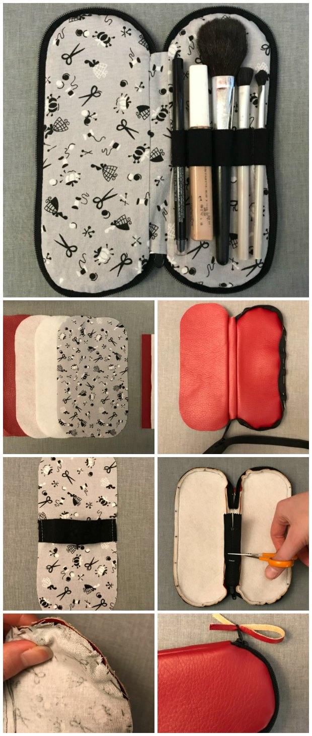 step by step sewing instructions for a zipper case for make up brushes