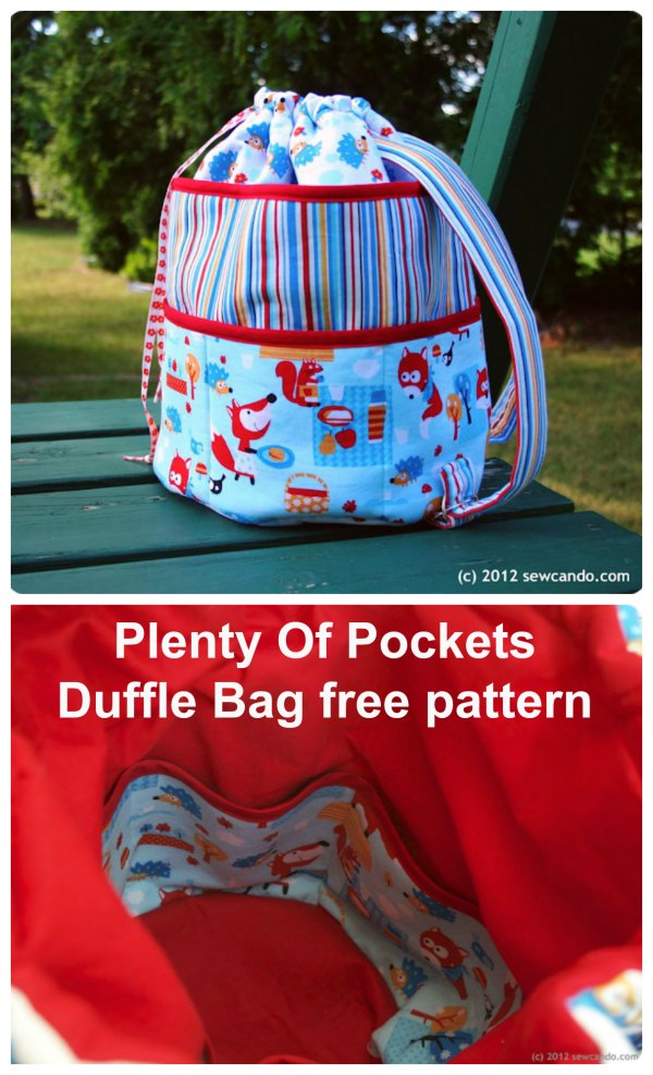 Plenty Of Pockets Duffle Bag FREE sewing pattern