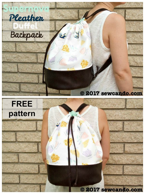 This is another fun tutorial and pattern which is completely free. This bag is called the Supernova Pleather Drawstring Duffel Backpack. It's a great looking backpack with a simple drawstring closure and it's a great size.