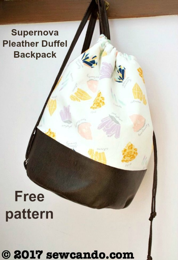 FREE sewing pattern for the Supernova Pleather Drawstring Duffel Backpack