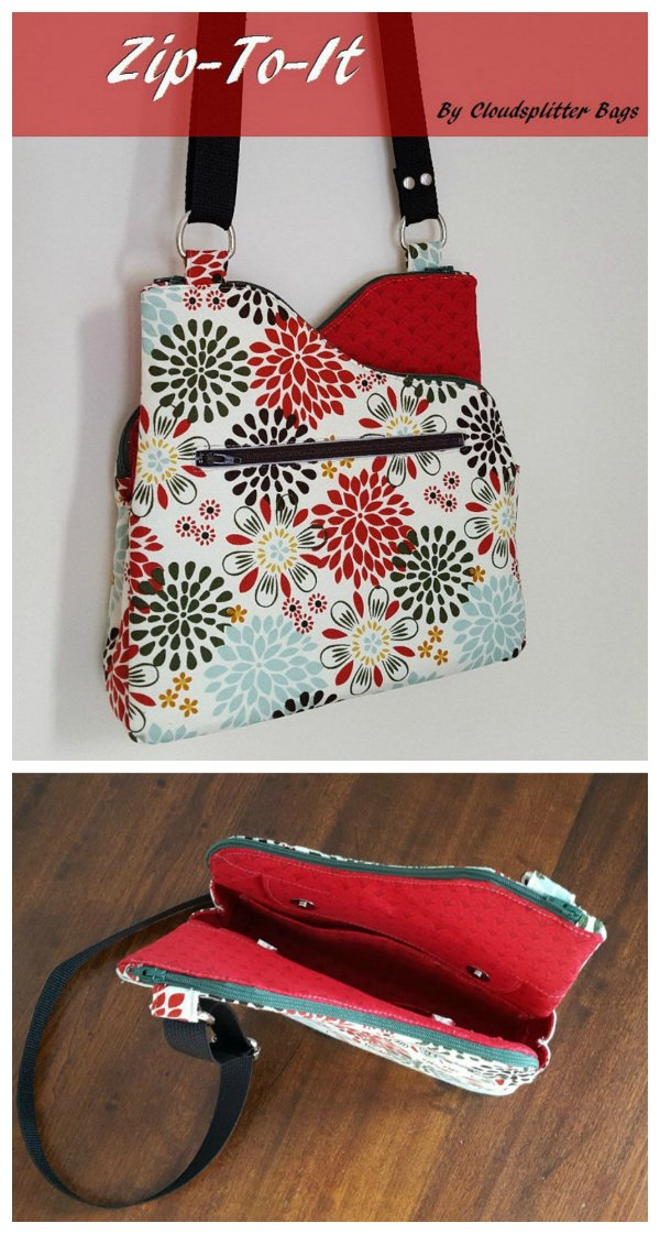 This is a really cute and interesting looking bag. It's pretty unique with those curved zipper tops giving it a funky, eye-catching design. The Zip To It bag is made up of three separate compartments. Each of the two sides has its own zippered pouch with a slip pocket inside each and the center compartment is open but closed with a magnetic flap.