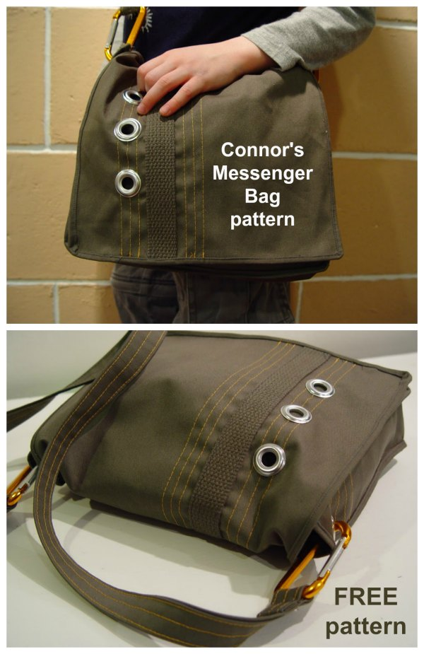 Connor's Messenger Bag is a simple bag made from heavy twill or denim or even canvas.  The hefty weight of the fabric helps give the bag it's shape. It's unlined for a quick simple project.