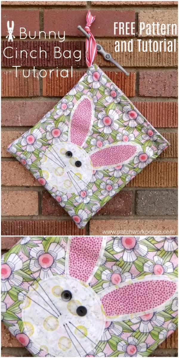 Easter Bunny Cinch Bag FREE sewing pattern