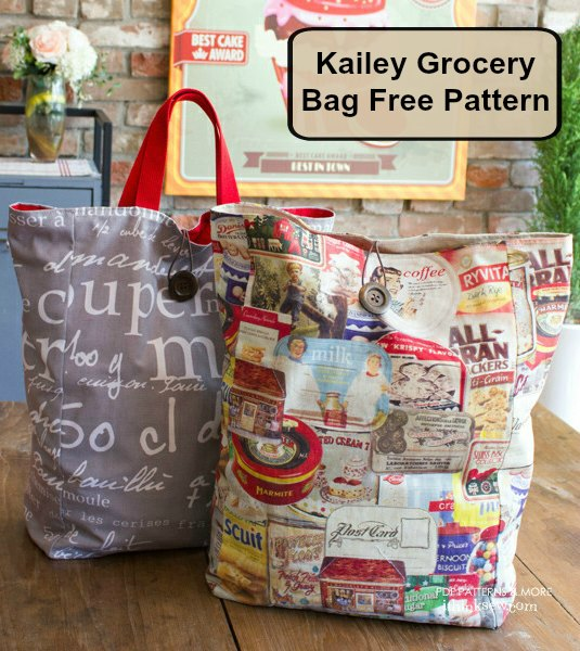 The Kailey Grocery Bag which is a free sewing pattern is perfect for trips to the grocery store. Also, you can roll the bag into a small bundle, so it can be easily held or stored in your purse when it is empty.