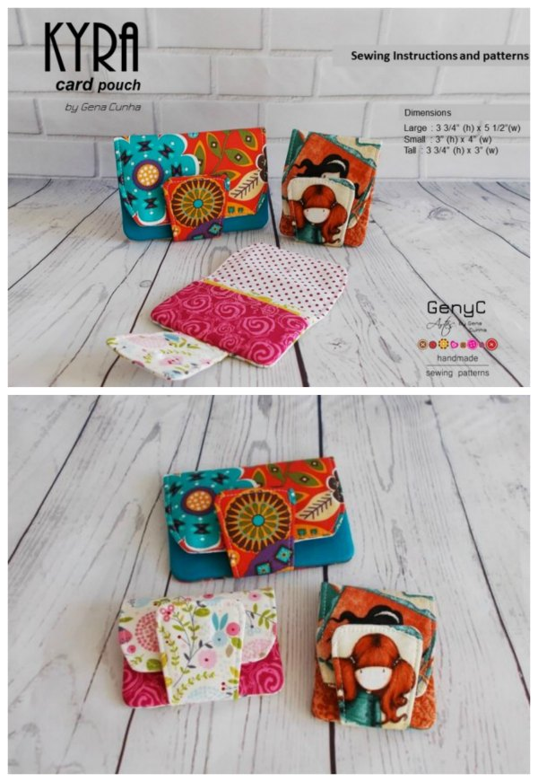 This is the digital pattern for the Kyra Card Pouch that comes in three different card pouch sizes. They are great for bank cards, rewards cards or even business cards.