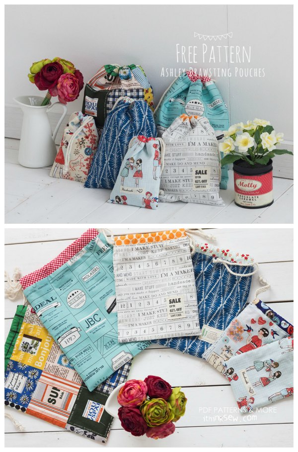 Ashley Drawstring Pouch Free sewing pattern